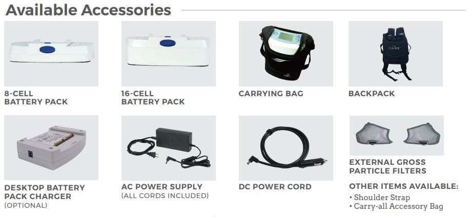 Caire Freestyle Comfort Portable Oxygen Concentrator Accessories