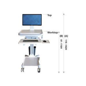 Medical Computer Trolley With Printer Shelf