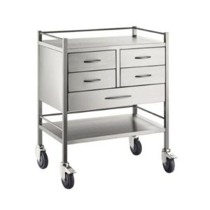 Resuscitation Trolley Stainless Steel Five Drawers