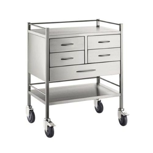 Resuscitation Trolley Stainless Steel Five 5 Drawers