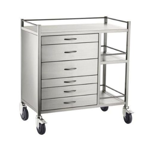 Anaesthetic Trolley Stainless Steel 6 Six Draw