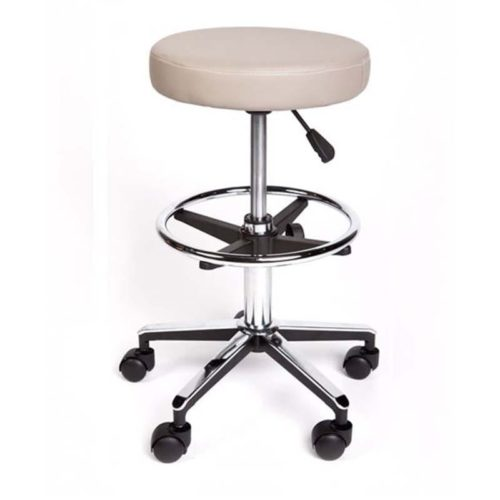 Round Stool Premium With Foot Ring Grey