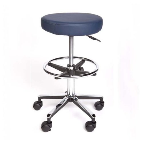 Round Stool Premium With Foot Ring Navy Blue