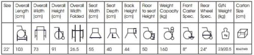 Wheel Chair Bariatric Specifications